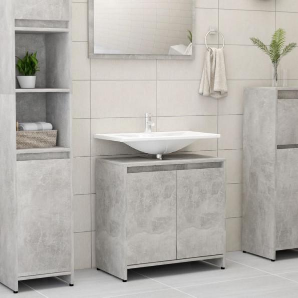 Badeværelsesskab 60x33x58 cm spånplade betongrå