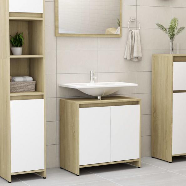 Badeværelsesskab 60x33x58 cm spånplade hvid og sonoma-eg