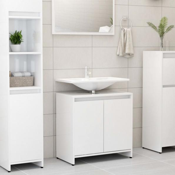 Badeværelsesskab 60x33x58 cm spånplade hvid højglans