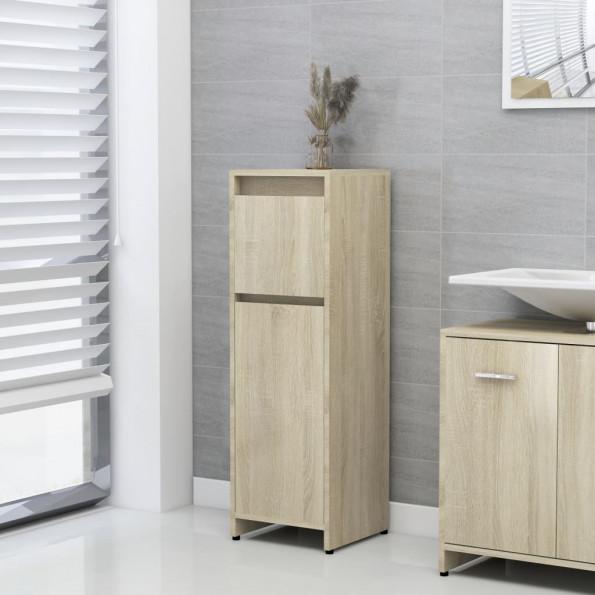 Badeværelsesskab 30x30x95 cm spånplade sonoma-eg