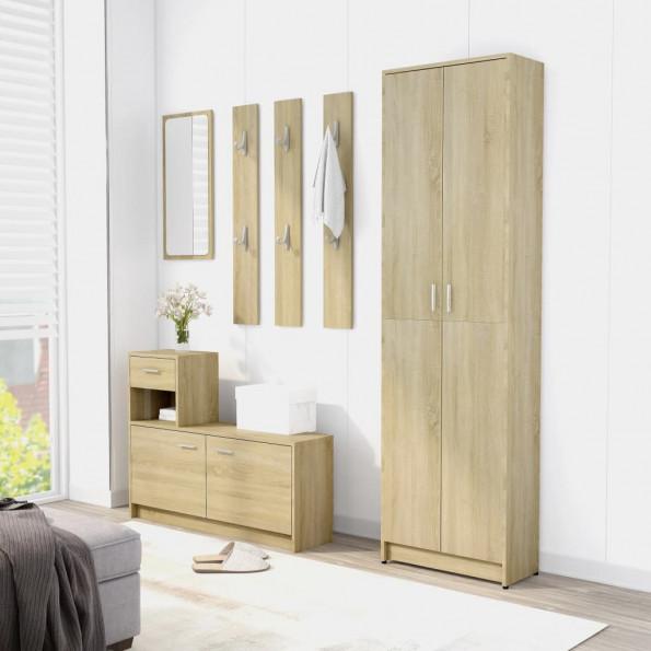 Entrémøbel 100x25x76,5 cm spånplade sonoma-eg