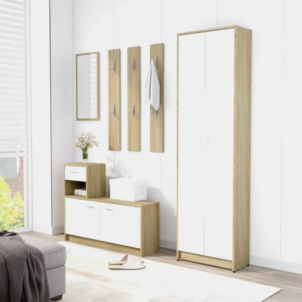 Entrémøbel 100x25x76,5 cm spånplade hvid og sonoma-eg