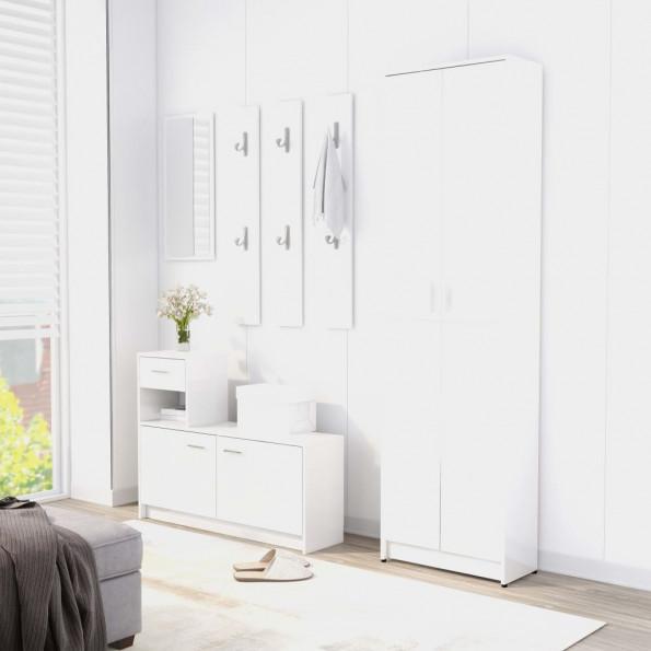 Entrémøbel 100x25x76,5 cm spånplade hvid højglans