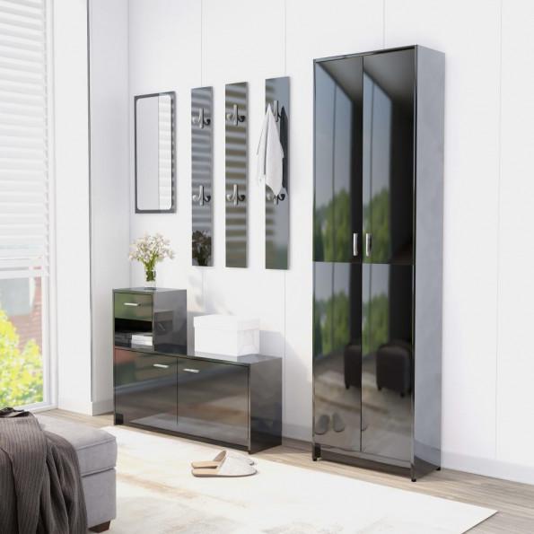 Entrémøbel 100x25x76,5 cm spånplade sort højglans