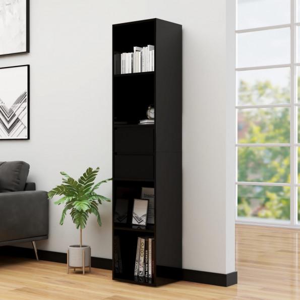 Bogreol 36x30x171 cm spånplade sort højglans