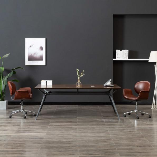 Drejelig kontorstol kunstlæder brun