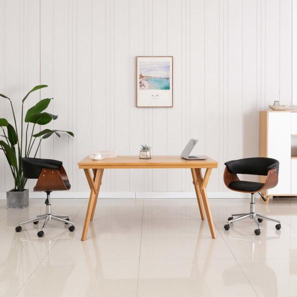 Drejelig kontorstol bøjet træ og kunstlæder sort