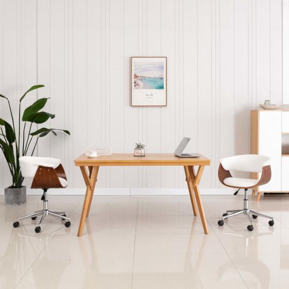 Drejelig kontorstol bøjet træ og kunstlæder hvid
