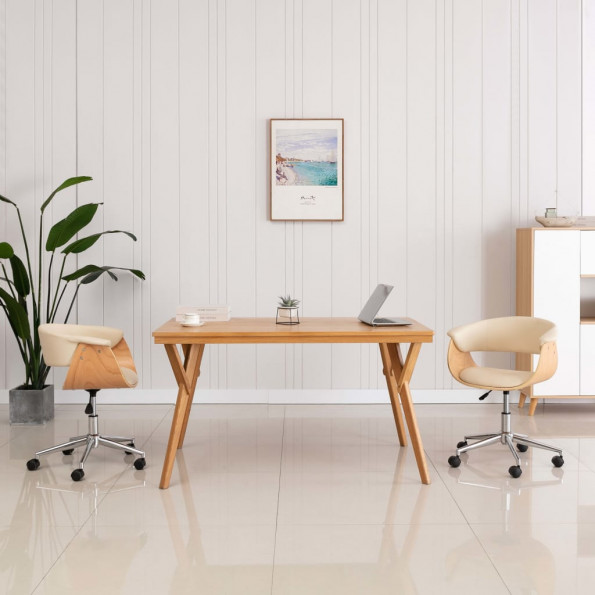 Drejelig kontorstol bøjet træ og kunstlæder cremefarvet