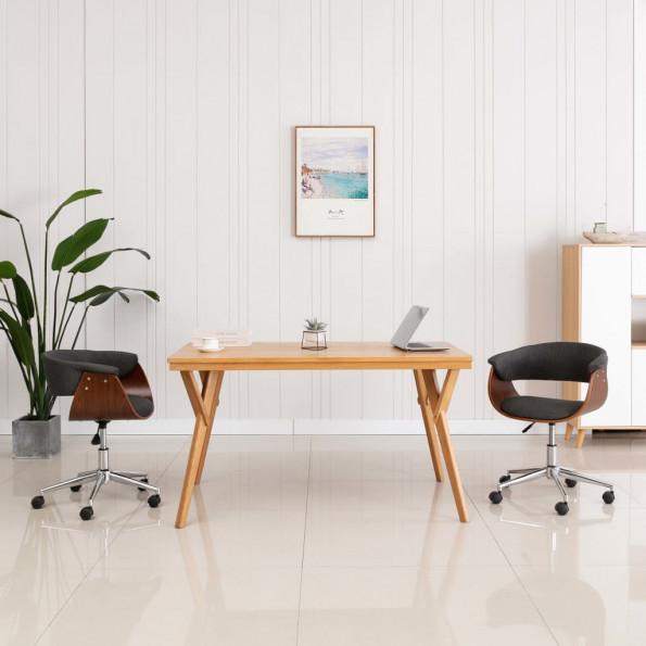 Drejelig kontorstol bøjet træ og stof grå