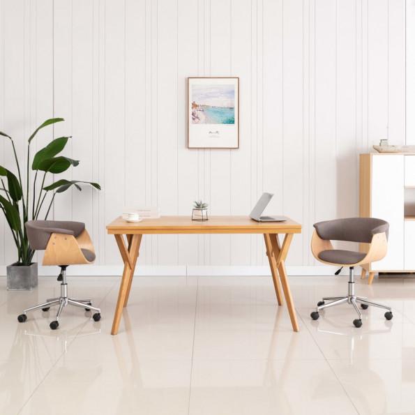 Drejelig kontorstol bøjet træ og stof gråbrun