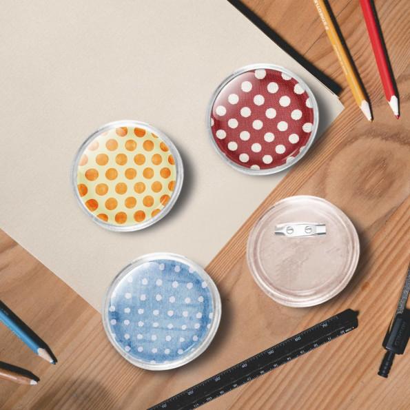 Dele til badges med nål 100 sæt 58 mm akryl