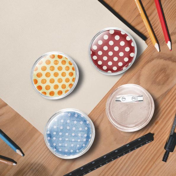 Dele til badges med nål 100 sæt 37 mm akryl