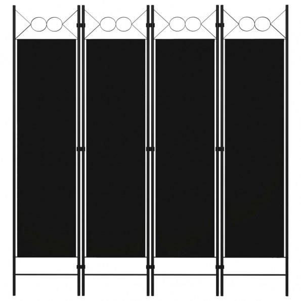 4-panels rumdeler 160x180 cm sort