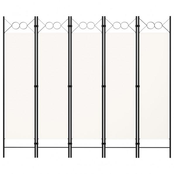 5-panels rumdeler 200x180 cm hvid