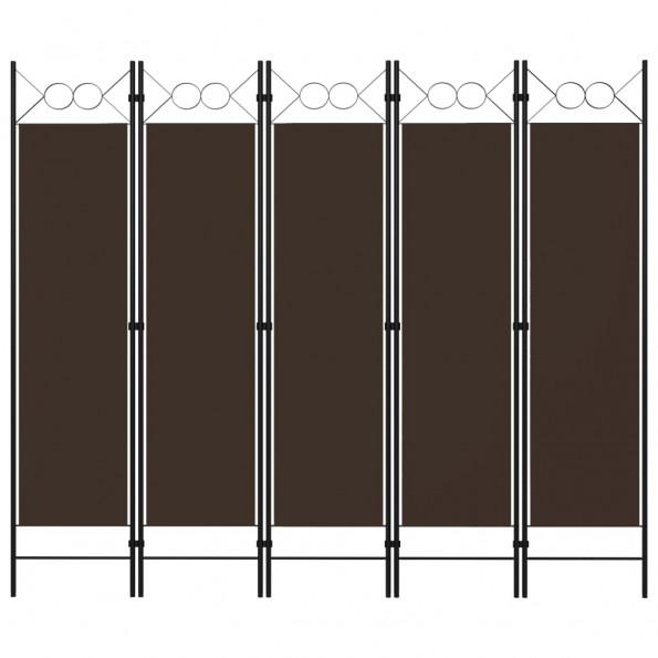 5-panels rumdeler 200x180 cm brun