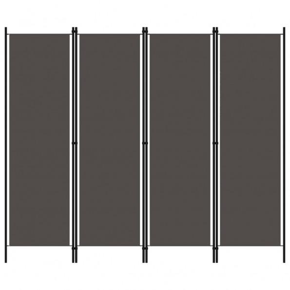 4-panels rumdeler 200 x 180 cm antracitgrå