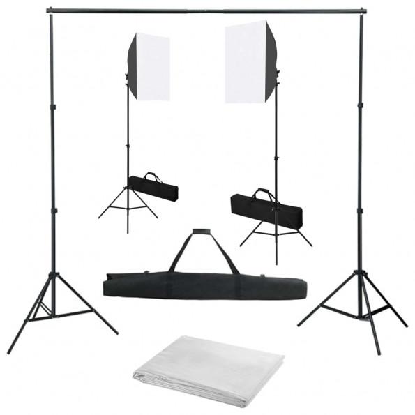 Fotostudieudstyr med softbox-lamper og baggrund