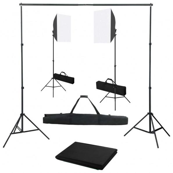 Fotostudiesæt med softbox-lamper og baggrund