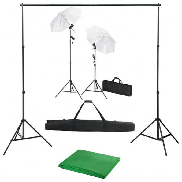 Fotostudieudstyr med baggrund, lamper og paraplyer