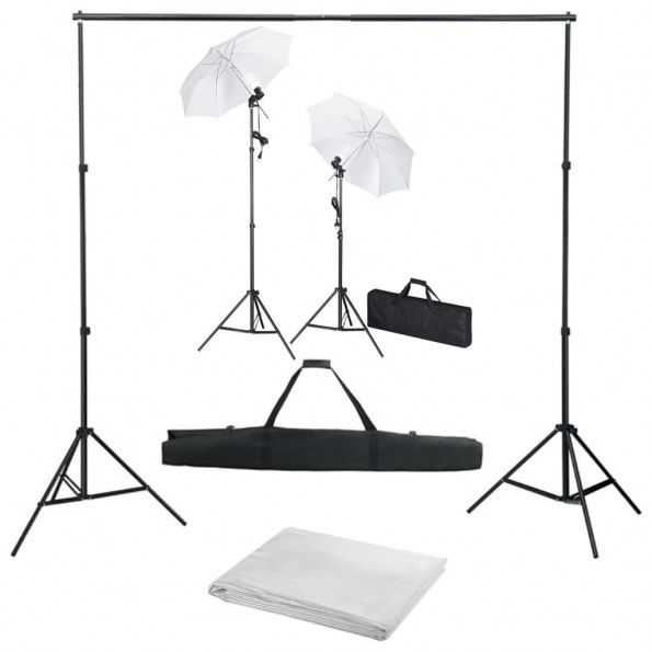 Fotostudiesæt med baggrund, lamper og paraplyer