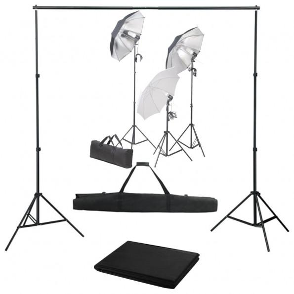 Fotostudieudstyr med lampesæt og baggrund