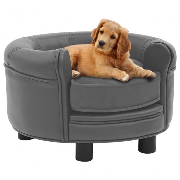 Hundesofa 48x48x32 cm plys og kunstlæder grå