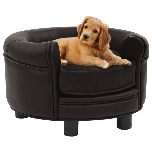 Hundesofa 48x48x32 cm plys og kunstlæder brun