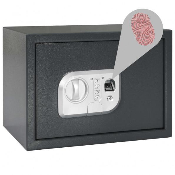 Digitalt pengeskab med fingeraftryk 35x25x25 cm mørkegrå