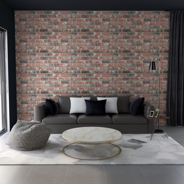 3D-vægpaneler 11 stk. murstensdesign EPS mørkebrun og grå
