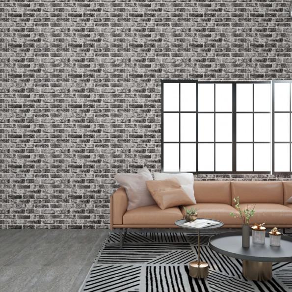 3D-vægpaneler 11 stk. murstensdesign EPS mørkegrå
