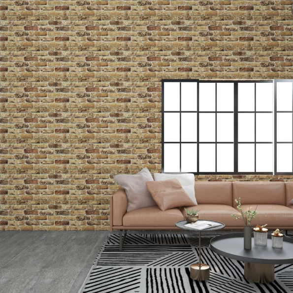 3D-vægpaneler 11 stk. EPS murstensdesign mørk sandfarve