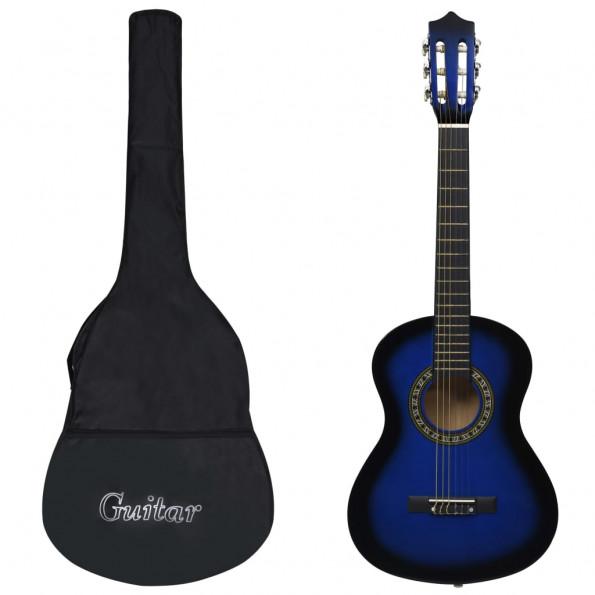 """Klassisk guitar med taske for begyndere og børn 1/2 34"""" blå"""