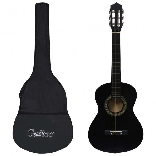 """Klassisk guitar med taske for begyndere og børn 1/2 34"""" sort"""