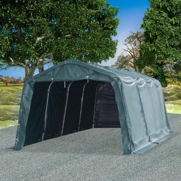 Flytteligt læskur til husdyr PVC 550 g/m² 3,3x6,4 m mørkegrøn