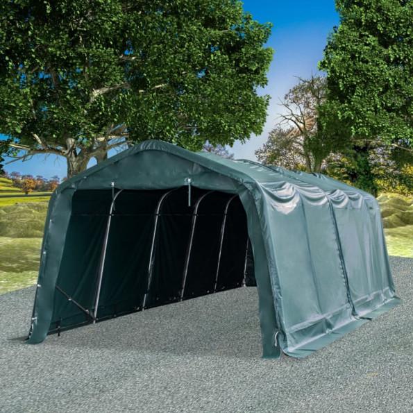 Flytteligt læskur til husdyr PVC 550 g/m² 3,3x8 m mørkegrøn