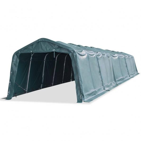 Flytteligt læskur til husdyr PVC 550 g/m² 3,3x16 m mørkegrøn