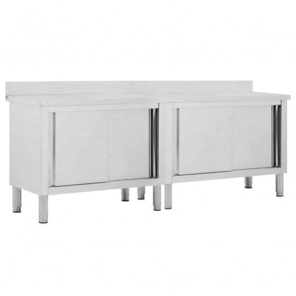 Arbejdsborde med skydedøre 2 stk. 240x50x95 cm rustfrit stål